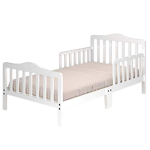 Costzon Toddler Bed, Classic Design Wood Bed Frame w/Two Side Safety Guardrails...