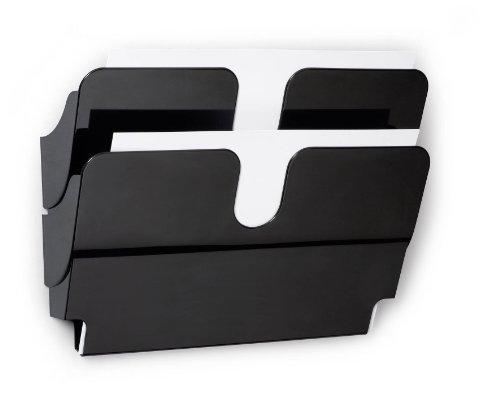 Durable FlexiPlus 2 A4 - Dispensador folletos de pared, 2 compartimentos, A4, horizontal, negro