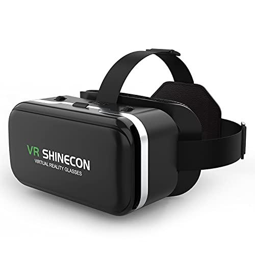 meetdas 3D VR Gafas de Realidad Virtual, 2K Gafas VR Glasses Visión Panorámico 360 Grado Película 3D Juego Immersivo para Móviles 4.7-6.6 Pulgada, pupila y Distancia de Objetos Ajustables