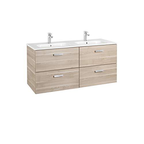 Lavabo doble + Mueble base 4 cajones, Unik Victoria Basic Roca, 120 centímetros, 120 x 46 x 56 centímetros, color abedul (Referencia: A855850422)