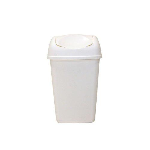 axentia Schwingdeckeleimer in der Farbe Weiß, Abfalleimer aus Kunststoff für Küche & Bad, Mülleimer mit Schwingdeckel, Fassungsvermögen: ca. 15 Liter