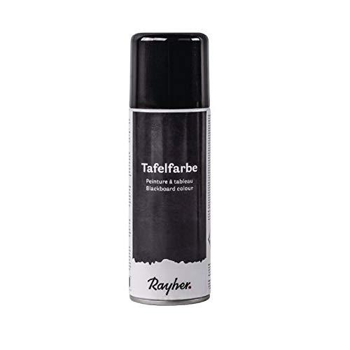 Rayher 38218576 Tafelfarbe-Spray, Sprühdose 200 ml, Tafelfarbe für Kreidetafel, Tafelfarbe zum Aufsprühen, erzeugt eine beschreibbare Fläche für Kreide, schwarz matt