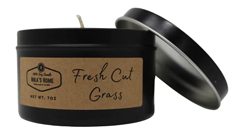 Nika's Home 7oz Black Tin Soy Candle - Strong Scented and Long Lasting (Fresh Cut Grass, 1 Pack)