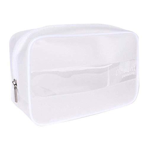 JERKKY Cosmetic Bag Portable Maquillage Sac De Rangement Trousse De Toilette Patchwork Wash Pouch Cosmétique Transparent Organisateur De Voyage Blanc