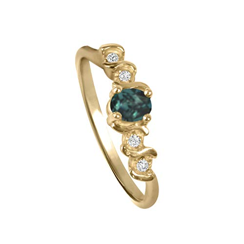 Alexandrite Natural Diamond Ring in 14K Yellow Gold