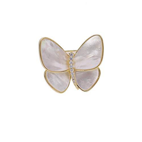 CLEARNICE Accessoire de Bijoux élégant Coquille Naturelle zircone cubique Broches Papillon Broche d'hiver pour Femmes
