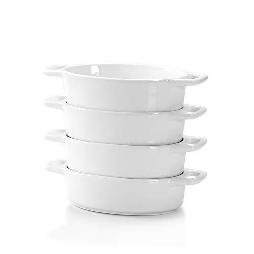 LOVECASA Fuente para Horno Pastelería, Juego de 4 piezas 170ML Mini Moldes para hornear de Porcelana Esmaltados para Tartas, Postre, Lasaña, Pastel, Soufflé 16CM, Ovalada