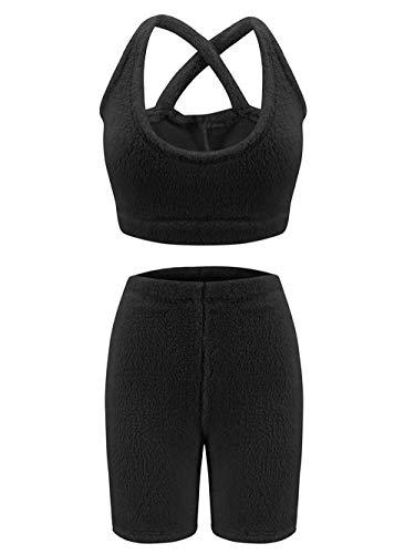 ZRYY Pijamas para Invierno/Pijamas para Mujer Polar Conjuntos De Pijama Mullido De Dos Piezas para Mujer Halter Top Mini Pantalones Cortos Conjunto De Pantalones Ropa Interior Homewear-Negro_L