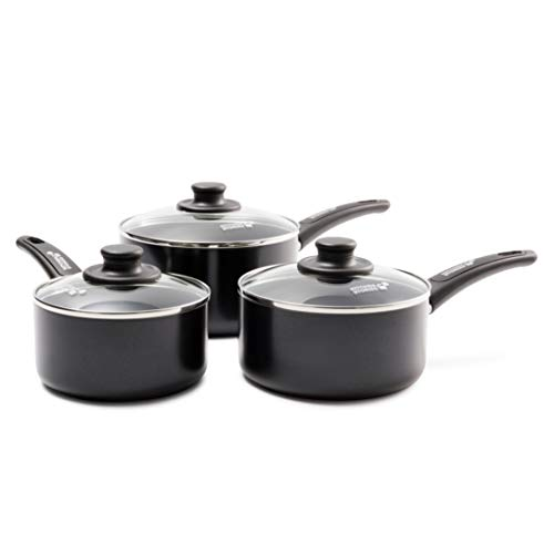 Kitchen Stories CC002623-001 Searsmart Nonstick 3-Piece Saucepan Set 16, 18 & 20 cm - Black - Induction Compatible - Oven Safe
