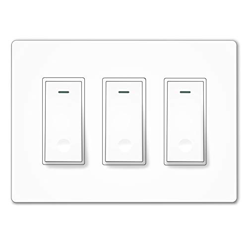 MOES WiFi Smart Light Switch,3 Gang No Screw Panel Smartlife/Tuya App Wireless Remote Control in-Wall Timer Switch for Lights,Compatible with Alexa,Google Home,No Hub Required