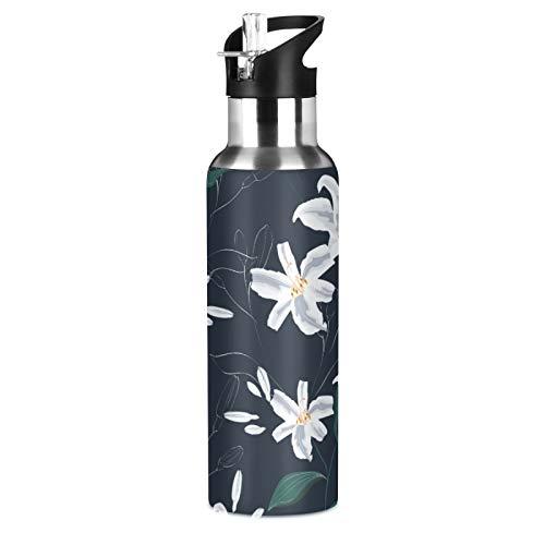xigua Botella de agua deportiva aislada con tapa de pajita de acero inoxidable al vacío, botellas térmicas a prueba de fugas, flores y flores