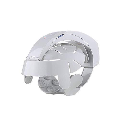 LKJCZ Cabeza masajeador eléctrico Cerebro masajeador insomnio multifunción fácil Cuero cabelludo Masaje Casco (Blanco)
