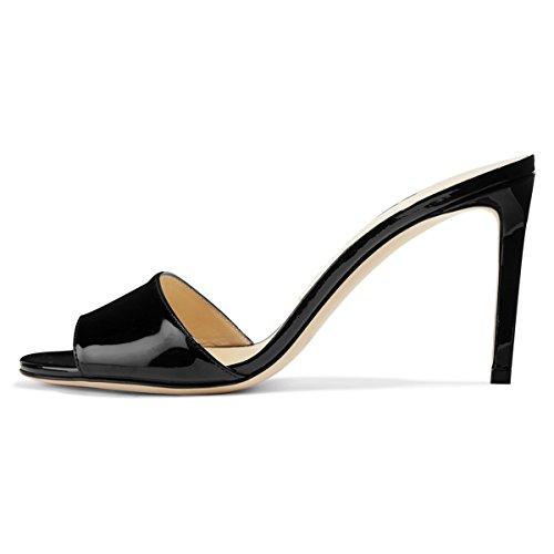 FSJ Women Casual Peep Toe Mule Sandals Stiletto High Heels Party Evening Shoes Size 12 Black-Patent