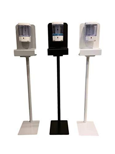 Soporte dispensador Gel hidroalcohólico automático, Columna móvil con dosificador desinfectante de Manos eléctrico a Pilas. (Blanco)
