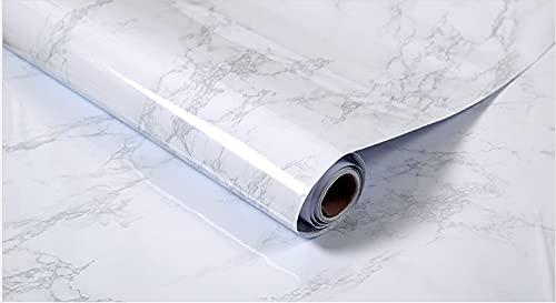 HautStore Vinilo Adhesivo para Encimera de Cocina, Mármol Blanco Impermeable Pegatinas Vinilo Decorativo Rollo Papel Adhesivo para Muebles Cocina Armario Resistente 0.4*10m