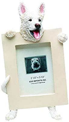 White German Shepherd Picture Frame Holds Your Favorite 2.5 by 3.5 Inch Photo, Hand Painted Realistic Looking German Shepherd Stands 6 Inches Tall Holding Beautifully Crafted Frame, Unique and Special German Shepherd Gifts for German Shepherd Owners from