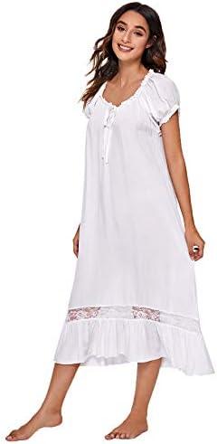 Verdusa Women s Cotton Lace Nightdress Short Sleeve Victorian Nightgown Sleepwear Pajama White product image