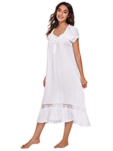 Verdusa Women's Cotton Lace Nightdress Short Sleeve Victorian Nightgown Sleepwear Pajama White XL