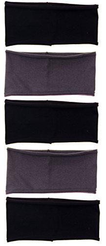 "5 PACK: Single Layer Cotton Spandex 4.5"" Raw Edge Sports & Yoga Headband (One Size, 5 Pack: Black/Charcoal/Black/Charcoal/Black)"