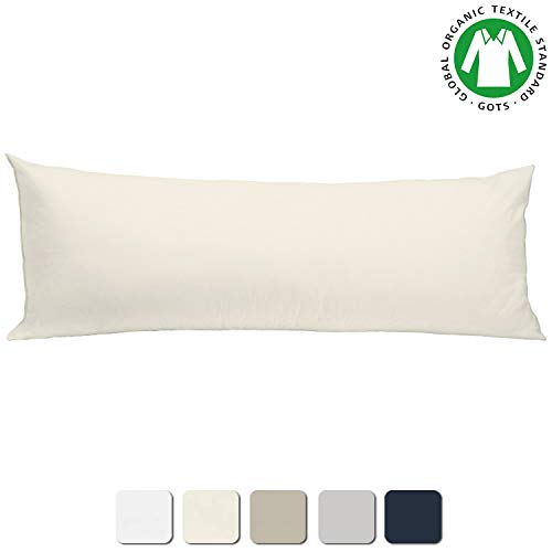 BIOWEAVES 100% Organic Cotton Body Pillow Cover for Body Pillowcases 300 Thread Count Soft Sateen Weave GOTS Certified with Zipped Closure - 21' x 54', Natural
