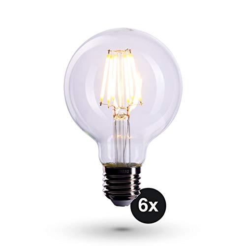 Crown FL05 - Bombillas LED (6 unidades, casquillo E27, 6 W, reemplaza a bombilla de 60 W, no regulable, luz blanca cálida, 230 V, luz clara)