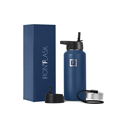 Iron Flask Sports Water Bottle - 32 Oz, 3 Lids (Straw Lid),Vacuum Insulated Stainless Steel, Double Walled, Thermo Mug, Metal Canteen