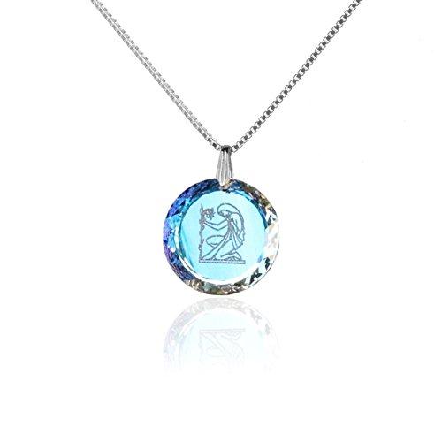 Silberkette Halskette 925 Silber Sternzeichen Tierkreiszeichen Jungfrau hergestellt mit Swarovski®Kristall