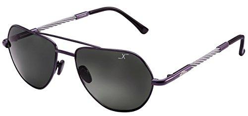 Xezo Freelancer Sonnenbrillen (Größe: Large) aus dunkelgrauem Echtglas (UV 400), Titan & Stahldrähte mit Polarisationskurve 6