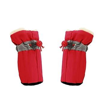 YAODHAOD Chaussures pour Chien, Bottes d'hiver Chaudes et Confortables, Semelles Souples, Baskets antidérapantes avec Sangles réfléchissantes, pour Petit Chien (3: 4x3 cm, Rouge)