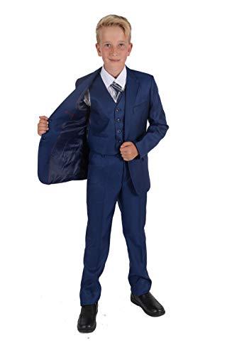 Cinda 5 Stück Boy Anzüge Hochzeit Anzug Junge Seite Partei-Abschlussball -Klagen Blau 9-10 Jahre