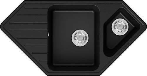 PRIMAGRAN Fregadero de Esquina de Granito 97 x 49 cm, Lavabo Cocina 1,5 Senos + Sifón Clásico, Fregadero Empotrado Mónaco, Negro