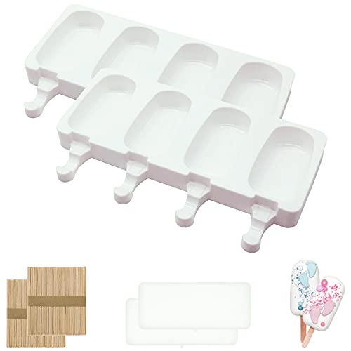 Molde de silicona para helados, con 2 tapas y 100 barras de helado, para hacer helados, frutas, postres, chocolates, etc. (4 cavidades, color blanco)
