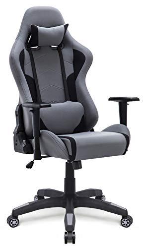 IntimaTe WM Heart Gaming Stuhl, Racing Gamer Stuhl Bürostuhl Stoff, Ergonomischer Computerstuhl Drehstuhl mit Hoher Rückenlehne, Grau
