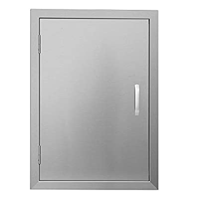 "APWONE Outdoor Kitchen Access Doors Single BBQ Island 304 Stainless Steel Door Cabinet Door Flush Mount with Chromium Plated Handle - 17"" X 24"""