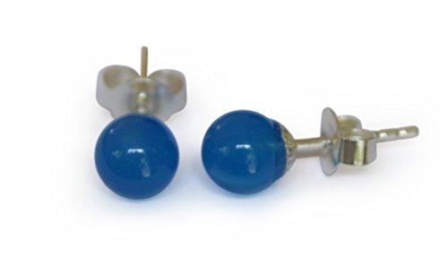 Achat Ohrstecker, natürlich, blau, rund, 6mm, 925 Silber