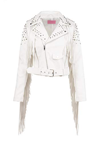Glam and Gloria Womens White Faux Leather Studded Fringe Moto Western Biker Jacket with Studs – Size Medium