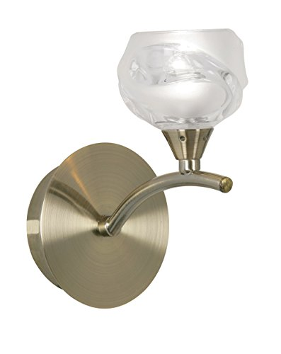 Oaks Lighting Korra Lampe murale finition laiton Antique et Satin avec Design Abat-jour en verre Transparent
