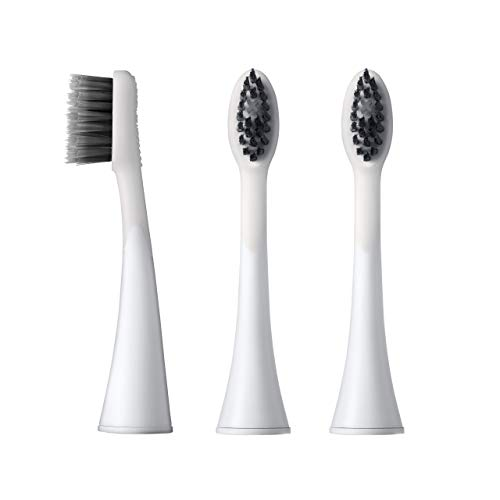 BURST Sonic Electric Toothbrush Replacement Heads, Charcoal Toothbrush Heads, 3pk, White