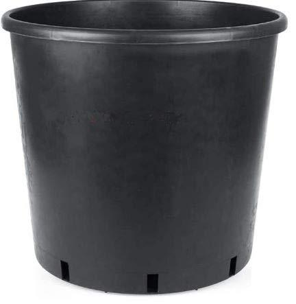 5-Pack Black Plastic Flower Planters Nursery Pots 4 Litre Capacity (19cm Diameter x 16.5cm Height)