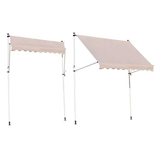 Angel Living 2.5x1.2 m Toldo Portátil de Aluminio y Acero, Toldo Plegable de Altura Ajustable con Manivela para Jardín Terraza Exterior Patio (Beige)