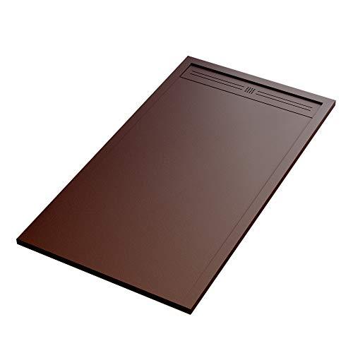 Essence ArredoBagno Plato de ducha Mineralmármol efecto piedra pizarra – Modelo Sun – mármol de resina con gel – Rejilla lateral de acero inoxidable en color marrón – 70 x 110 cm