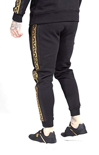 Sik Silk - SS-15432 Muscle FIT Nylon Panel Joggers Black/Gold -PANTALÓN para Hombre (XS)
