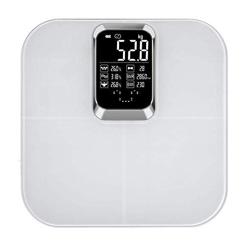 LKNJLL Bluetoothの体脂肪のスケール、体重、脂肪、水、BMI、BMR、マッスルマスのためのスマートワイヤレスBMIバスルーム体重計体組成モニター健康アナライザでスマートフォンアプリの