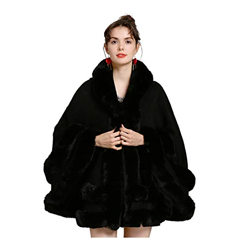 Capa de piel sintética para mujer, cárdigan de cola de golondrina, bufanda de invierno, abrigo grueso y cálido, poncho de piel de dos capas con sombrero