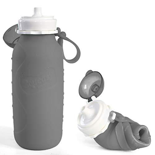Squeasy Sport - Wiederverwendbare Quetschflasche, Trinkflasche aus Silikon, 440ml, BPA-, PVC- und Phthalatfrei, leichte Trinkflasche, Aufrolllbar, Auslaufsicher, Ideal für Smoothies (Grau)