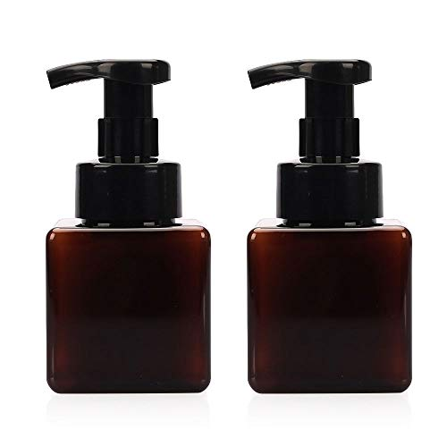 Viewnub 250ML Foaming Hand Soap Dispenser Foaming Pump Bottle with Plastic Tops Square,Pack of 2,Brown