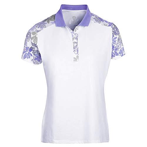 Island Green Camisa de Polo de Manga Corta para Mujer con Estampado Floral y Transpirable, Mujer, Camisa de Golf, IGLTS2056_WHLAV_M, Blanco/Lavanda, M