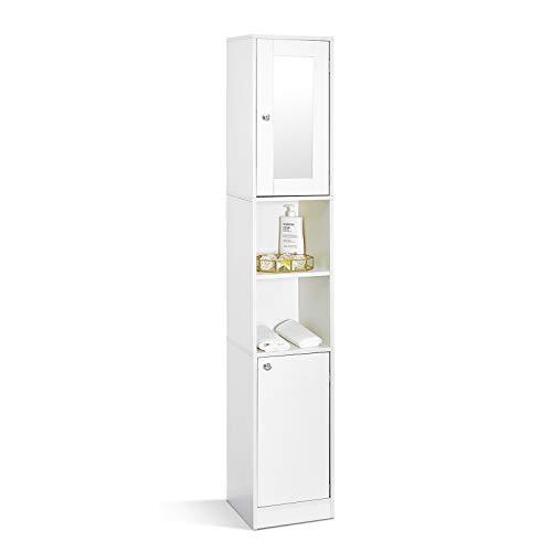 Mondeer - Mueble de baño columna - moderno, 2 puertas, 1 espejo, 6 estantes, 180x30x28cm, blanco