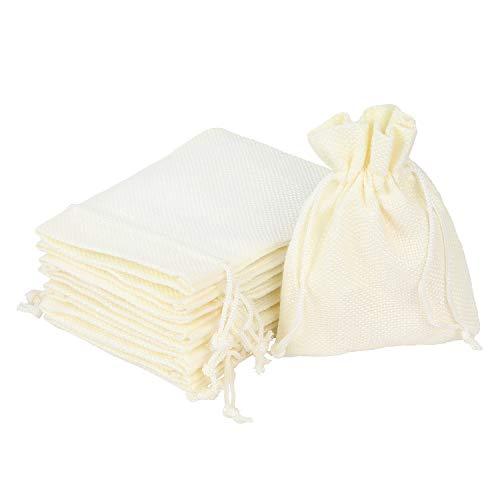 AKLVBL 24 bolsas de regalo de arpillera de color beige, bolsas de regalo pequeñas, bolsas de joyería de lino con cordón para regalos y fiestas de boda