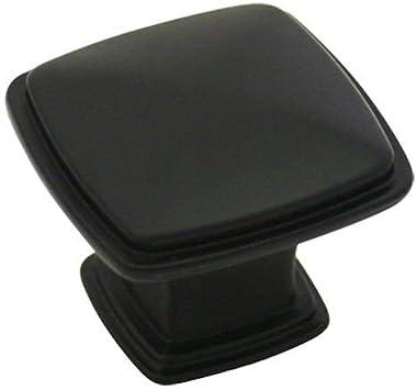 "Cosmas 4391FB Flat Black Modern Cabinet Hardware Knob - 1-1/4"" Inch Square - 10 Pack"